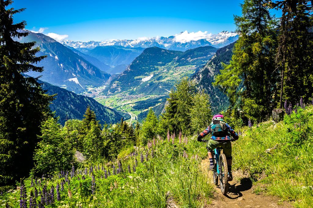 Panorama view while riding at Verbier Bikepark