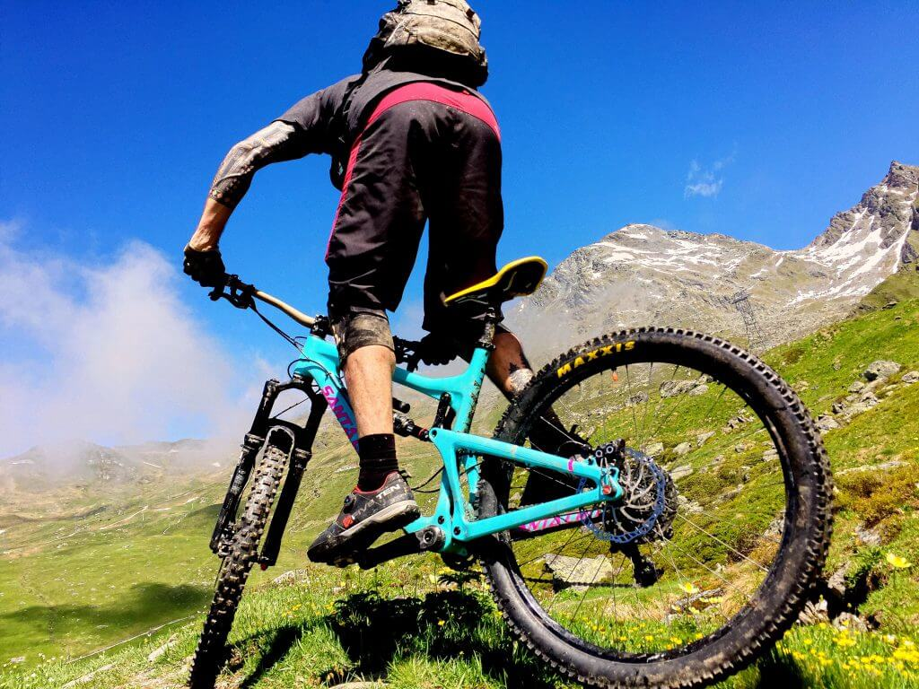 Armin playing around on Verbier's biketrails